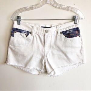 Levi's White Distressed Denim Jean Shorts 10